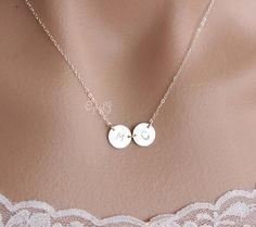 Two initial necklace, Double initial disc charm necklace personalize necklace, duo disk coin charm custom monogram necklace, Silver on Etsy, $29.00
