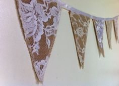 Mini Triangle Hessian/Burlap Bunting featuring White Vintage Lace - 5 Bunts with Satin Bind - DIY Wedding Burlap Bunting, Bunting Garland, Fabric Bunting, Burlap Lace, Hessian, Bunting Ideas, Burlap Crafts, Diy Crafts, Doilies Crafts
