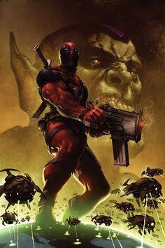 Fantastic deadpool marvel comics art painting