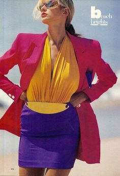 Just Eighties Fashion : Colour blocking - Vintage Fashion - inspiration for CATs Vintage - style - fashion 1980s Fashion Trends, 80s And 90s Fashion, Retro Fashion, Trendy Fashion, Style Fashion, 80s Womens Fashion, Fashion Vintage, Image Fashion, Fashion Tag