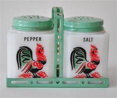 1940s Vintage Art Deco Milk Glass Rooster by TheBarnatBelMarFarm, $42.00