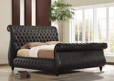 Land Of Beds Swan    The Swan is a chesterfield style top grain leather bed. This one's a real showpiece.    It has a tall padded headend and a lower padded footend.    The frame features a sprung slatted base. Price: £1399.00