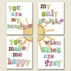 You are my sunshine 11x14 wall art set- rainbow- nursery prints- playroom wall art set- big girl room. $47.00, via Etsy.