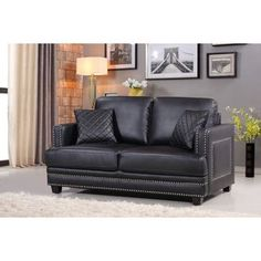 Shop for Ferrara Black Leather Nailhead Loveseat. Get free shipping at Overstock.com - Your Online Furniture Outlet Store! Get 5% in rewards with Club O!