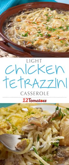 So many times we want to dig into a yummy-looking casserole, but think twice because we know what usually goes into them…calories. With this chicken tetrazzini, you can rest a little easier knowing that we cut corners here and there to make it a little lighter and better for you, without sacrificing on flavor!