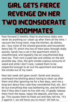 #Girl #Fierce #Revenge #Two #Inconsiderate #Roommates