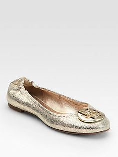 Tory Burch Reva Pebbled Metallic Leather Ballet Flats
