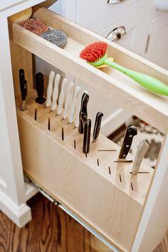 9 Best Knife Storage Ideas, Make A Fuzzy Cozy Kitchen Kitchen Cabinet Organization, Kitchen Storage, Kitchen Cabinets, Storage Cabinets, Cozy Kitchen, New Kitchen, Updated Kitchen, Kitchen Redo, Kitchen Ideas