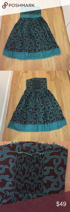 African Print Strapless Flared Dress Worn only once, British size 12 which is US 8 Dresses Strapless