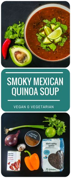 This Smoky Mexican Quinoa Soup is perfect for a quick weeknight supper - filling and super-tasty, it is a meal in itself. Vegetarian & vegan.