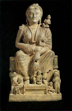 Gandhara (meaning 'the land of fragrance') Buddhist Art, Pakistan: Hariti   #art #sculpture #carvings