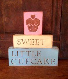 Sweet Little Cupcake Blocks // Baby girl nursery decor: shower gift. by BetsysWood
