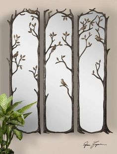 accent wall silver mirrored dresser and canvas birds - Google Search