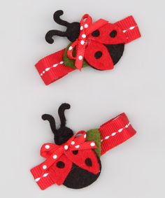 Look at this Pink Poseys Bowtique Red Ladybug Clip Set on #zulily today!