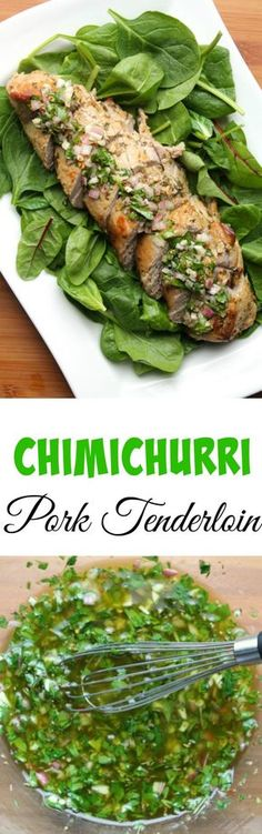 Chimichurri Pork Tenderloin ~ Pork tenderloins are marinated in and then topped with this fresh Chimichurri sauce. Pork Tenderloin Recipes, Pork Recipes, Mexican Food Recipes, Dinner Recipes, Cooking Recipes, Healthy Recipes, Recipies, Detox Recipes, Drink Recipes