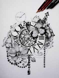 Butterfly clock tattoo design