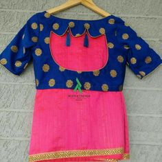 Georgette silk saree with banarasi ready wear blouse Simple Blouse Designs, Saree Blouse Neck Designs, Choli Designs, Sari Design, Design Design, Designer Blouse Patterns, Chiffon Blouses, Fashion Blouses, Fancy Sarees