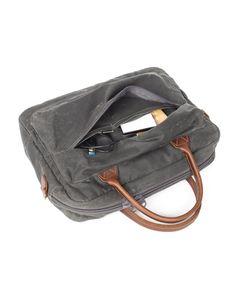 Laptop Bag, Regent Laptop Bag, Canvas Bag, Leather, Made in USA, Handcrafted, Wood&Faulk