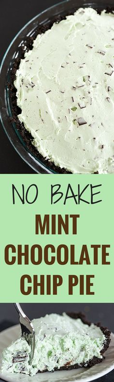 Mint Chocolate Chip Pie - This no-bake pie comes together quickly and is perfect for chocolate and mint lovers. Make it for a St. Patrick's Day celebration!