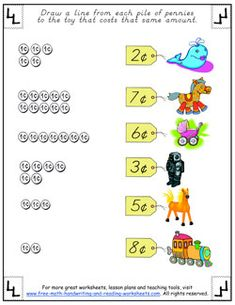 Simple worksheets covering money values, change, and more. Print out these free counting pennies worksheets to get started. Counting Money Worksheets, Reading Worksheets, Kindergarten Worksheets, Math Activities, School Days, School Stuff, Winter Bulletin Boards, Counting Coins, Working Memory