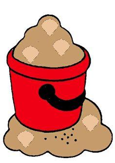 Rode emmer met schelpen van telspel