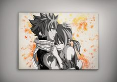 Natsu Lucy NaLu Fairy Tail Poster Watercolor Print Anime Poster Manga Art 11.70 x 16.50 A3 No194