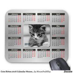Cute Kitten 2016 Calendar Mouse Pad
