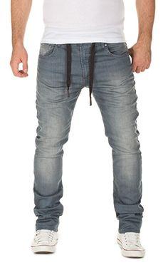 WOTEGA Herren Jeans - Sweathose in Jeansoptik Noah - slim, turbulence grey (R4215), W30/L34