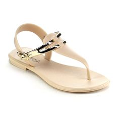 A delightful sandal you can travel with wherever you go. Featuring PVC material and adjustable ankle strap with buckle closure, thong with T-strap style, flat heel, and finished with cushioned insole for comfort.