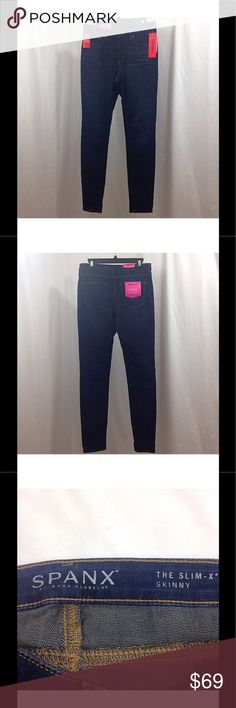 "Spanx The Slim-X Skinny Jeans Rich Indigo Must-have pair of sleek skinny profile jeans featuring patent-pending technology that acts as a hidden shaper for a curve-contouring finish. Skinny tapered leg Curve-contouring design and a gape-free waist Zip-fly with button closure Perfect pocket placement for a perky look in the back Inner/outer thigh slimming for lean legs Machine wash cold Brand New with Tags Women's Size 29 (8) Waist - 31"" Inseam - 30"" Outseam - 41"" Leg Opening - 11"" Rise - 9…"