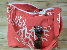 Women's Camera bags Made in the USA by Darby Mack Designs Slub cotton upholstery weight / Messenger strap / Ocean CORAL outdoor waterproof