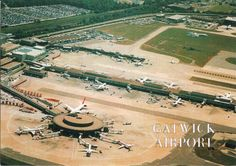 London Gatwick Airport - South Terminal - Postcard from the mid 1980s