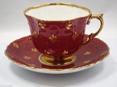 Aynsley Tea Cup & Saucer, Burgundy with Gold Fleur de Lis Bone China England