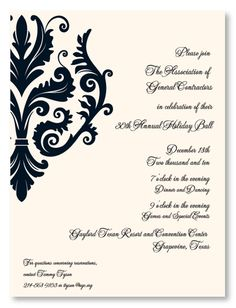 Black Flourish Formal Wedding Invitations, 18749