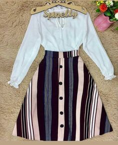 Cute Work Outfits, Girly Outfits, Modest Outfits, Classy Outfits, Skirt Outfits, Casual Outfits, Pretty Outfits, Vintage Outfits, Blouse And Skirt