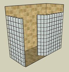doorless showers bathroom designs with glass blocks   Glass Block Shower Kits use tile not glass block with step in of 4''