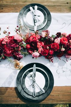 Monochrome colours with bright pink and red florals // Black Tie and Berry-Toned Styled Shoot on a Cuddly Animal Farm