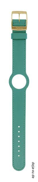 Deja Vu - Lederuhrenbänder, schmal, mit vergoldeter Edelstahlschließe cyan 19 EUR