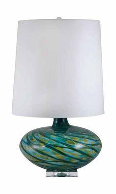 glass mid century table lamp turquoise teal green swirl modern jaya austin