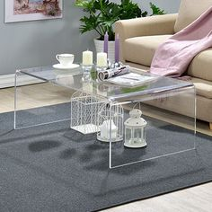 Clear Acrylic Coffee Brown Table