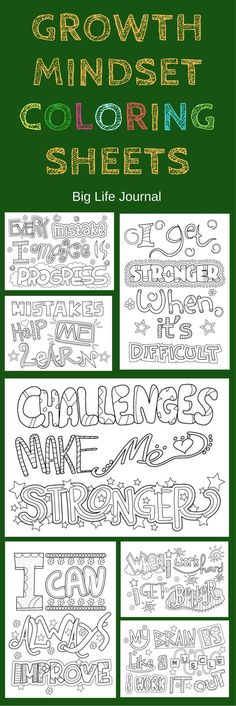 Growth mindset printable coloring sheets for kids.