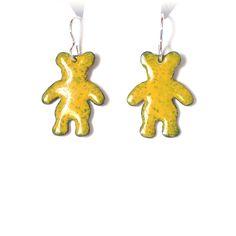enamel earrings - teddy bear £12.50 Handcrafted Jewelry, Handmade, Large Letters, Copper Earrings, Jewelry Gifts, Jewellery, Jewelry Making, Teddy Bear, Enamels