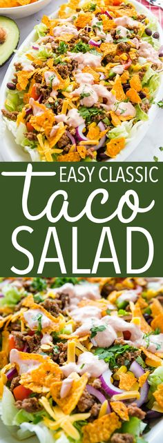 This easy taco salad recipe is easy to make and perfect for an light meal or side dish. Make it with ground beef or turkey in under 30 minutes! Recipe from thebusybaker.ca! #taco #tacosalad #tacotuesday #sidedish #summer #barbecue #potluck #mexican #texmex #easyrecipe #familymeal #weeknightmeal via @busybakerblog