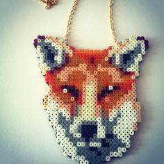 Fox necklace hama mini beads by pernille.hoyen91
