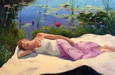 On the Magic Quilt by Dennis Perrin Oil ~ x Am I Dreaming, Realistic Paintings, Oil Paintings, Still Life Art, Fine Art Gallery, Figure Painting, Painting Techniques, Figurative Art, Impressionist