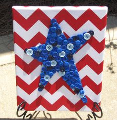 8x10 Blue Star Button Art Picture on Red Chevron Fabric - pinned by pin4etsy.com