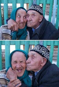 Old Russian couple from Khalilov village, Russia. They have  been happily married for 65 years. True LOVE...