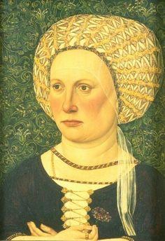 Elsner, Jakob, Portrait of a Woman wearing a goldgemusterter Haube, about1500, Bild, Berlin, Kaiser-Friedrich-Museums-Verein  Bildindex Id# gg3464_019b