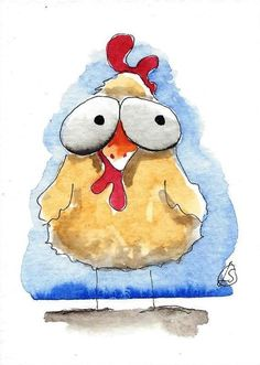 ACEO Original watercolor art painting Lucia Stewart whimsical animal chicken