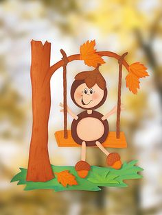 Handicrafts in autumn: window picture - Diy Fall Decor Fall Arts And Crafts, Autumn Crafts, Autumn Art, Kids Crafts, Fall Crafts For Kids, Diy And Crafts, Autumn Activities, Craft Activities, Decoration Creche